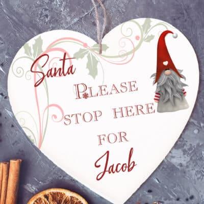 Personalised Santa Stop Here Wooden Hanging Heart
