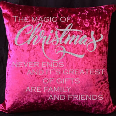 The Magic Of Christmas Red Crushed Velvet Cushion With White Glitter Vinyl
