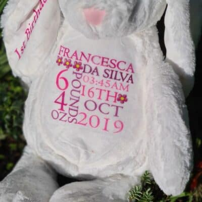 Personalised Birth Announcement Bunny Soft Toy