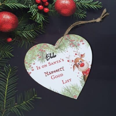 Personalised Santa's Good List Wooden Hanging Heart