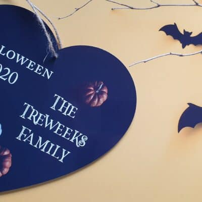 Personalised Halloween Wooden Hanging Heart