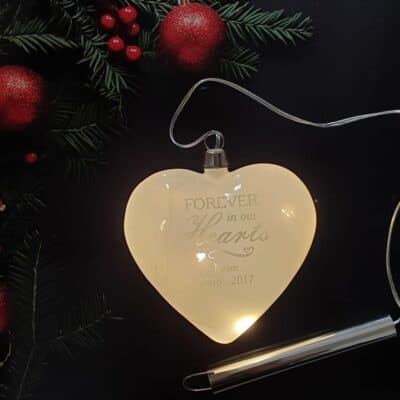 Personalised Forever In Our Hearts LED Glass Hanging Heart