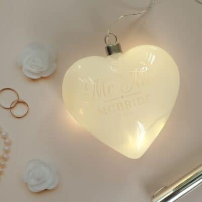 Personalised Mr & Mrs LED Glass Hanging Heart