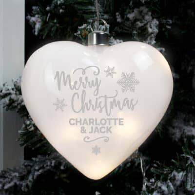 Personalised Merry Christmas LED Glass Hanging Heart