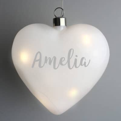 Personalised Name Only LED Glass Hanging Heart