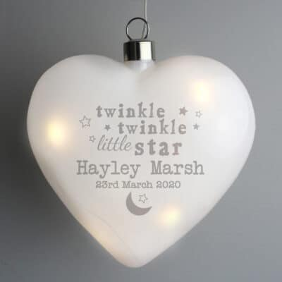 Personalised Twinkle Twinkle LED Glass Hanging Heart