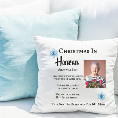 Personalised Christmas In Heaven Cushion