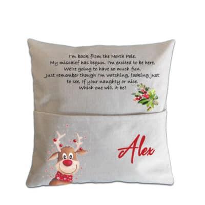 Personalised Christmas Elf Pocket Cushion