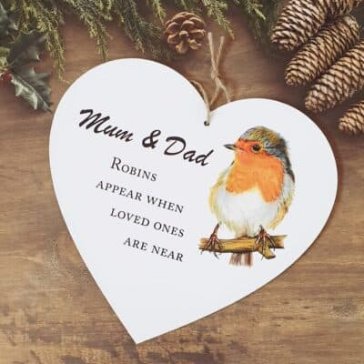 Personalised Robins Appear Wooden Hanging Heart