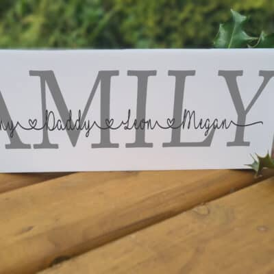 Personalised Family Acrylic Mantel Block