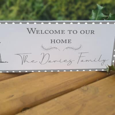 Personalised Welcome To Our Home Acrylic Mantel Block