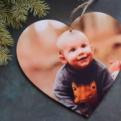Personalised Photo Only Wooden Hanging Heart