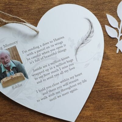 Personalised Sending A Dove To Heaven Wooden Hanging Heart