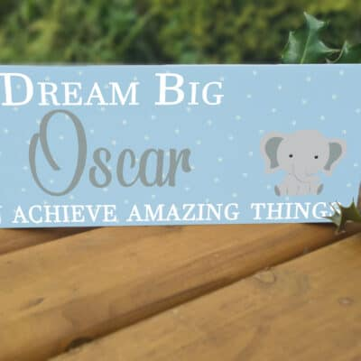 Personalised Dream Big Boy Acrylic Mantel Block