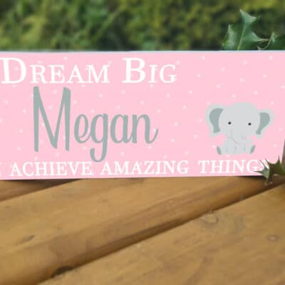 Personalised Dream Big Girl Acrylic Mantel Block