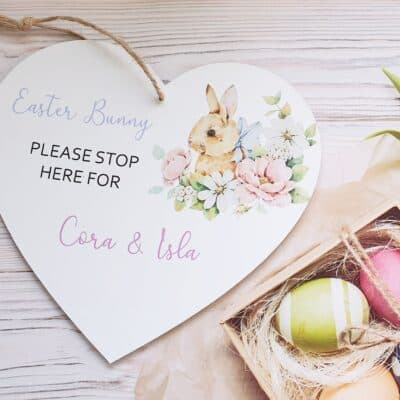 Personalised Easter Bunny Stop Here Wooden Hanging Heart