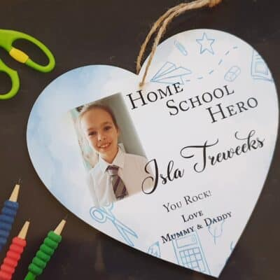 Personalised Home School Hero Wooden Hanging Heart