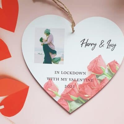 Personalised Lockdown With My Valentine Wooden Hanging Heart