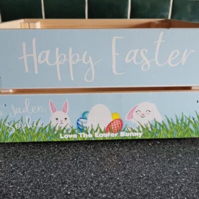 Personalised Wooden Easter Crate Design 10
