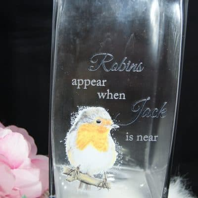 Personalised Robins Appear Glass Vase