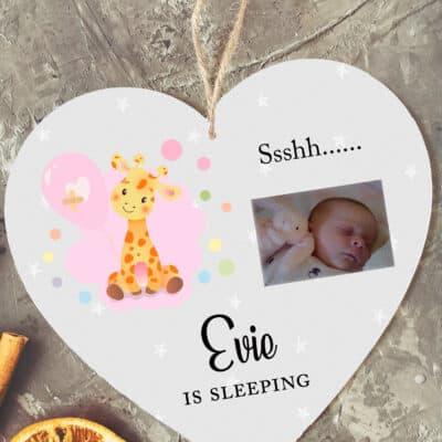 Personalised Ssshh Sleeping Wooden Hanging Heart