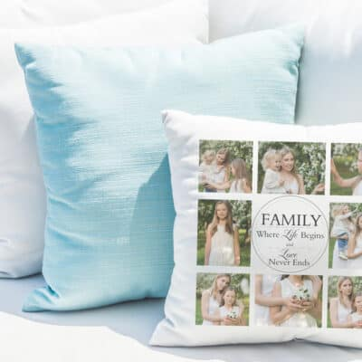 Where life begins personalised cushion