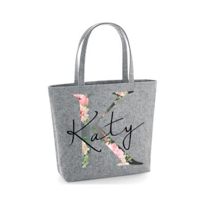 Personalised Floral Name Felt Shopper Bag