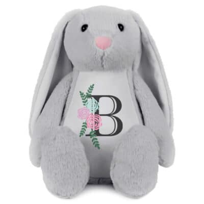 Personalised Floral Initial Bunny Soft Toy
