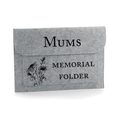 Personalised Memorial Folder Felt Document Slip
