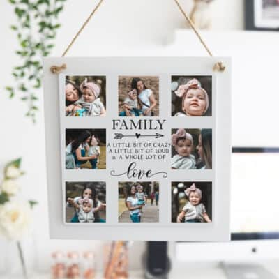 Personalised Family A Little Bit Of Crazy Wooden Hanging Sign