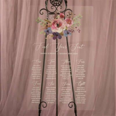 Personalised Acrylic Pink And Purple Floral Wedding Seating Chart