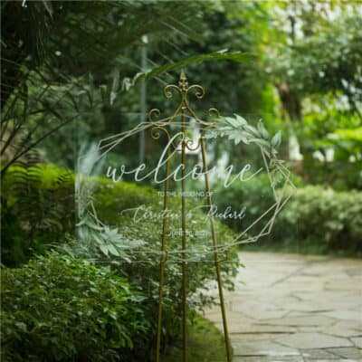 Personalised Acrylic Gold Geometric Greenery Wedding Welcome Sign