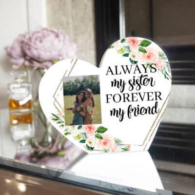 Personalised Always My Sister Heart Photo Block