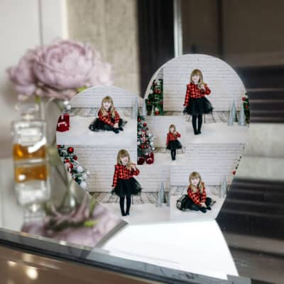 Personalised Collage Heart Photo Block