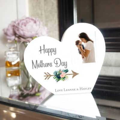 Personalised Happy Mothers Day Heart Photo Block