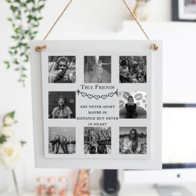 Personalised True Friends Wooden Hanging Sign