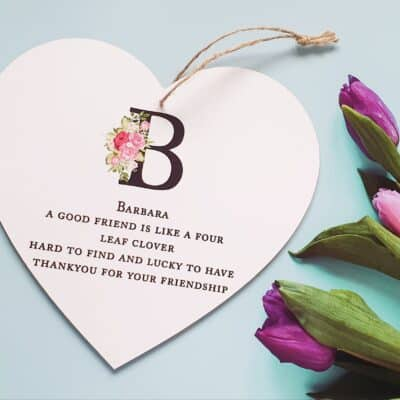 Personalised A Good Friend Wooden Hanging Heart