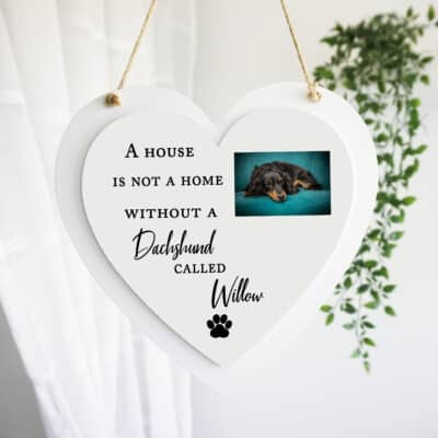 Personalised A House Is Not A Home Luxury Wooden Hanging Heart