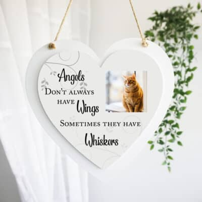 Personalised Angels Don't Always Have Wings Luxury Wooden Hanging Heart
