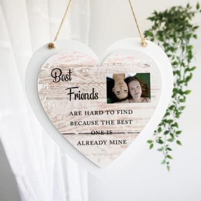 Personalised Best Friends Luxury Wooden Hanging Heart