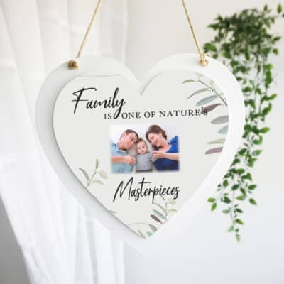 Personalised Family Is Natures Masterpiece Luxury Wooden Hanging Heart