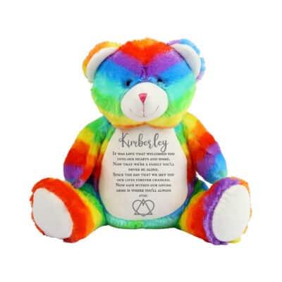 Personalised Adoption Rainbow Bear Soft Toy
