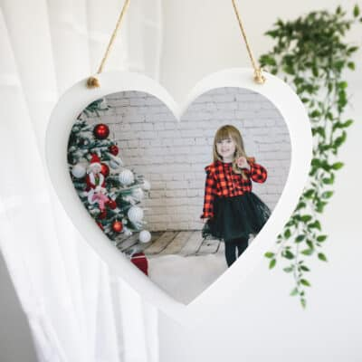 Personalised Photo Only Luxury Wooden Hanging Heart