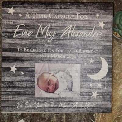 Personalised Time Capsule Moon And Back Deep Wooden Box