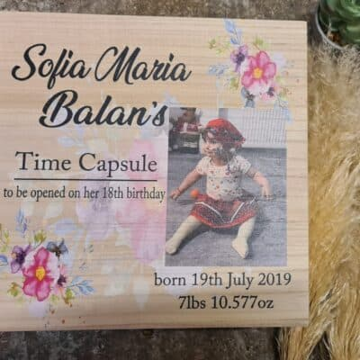 Personalised Time Capsule Floral Deep Wooden Box