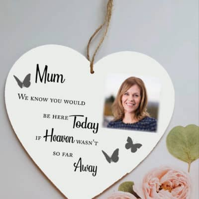 Personalised Here Today Wooden Hanging Heart