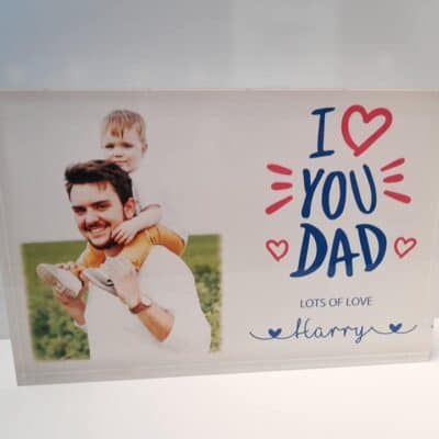 Personalised Love You Dad Clear Acrylic Photo Block