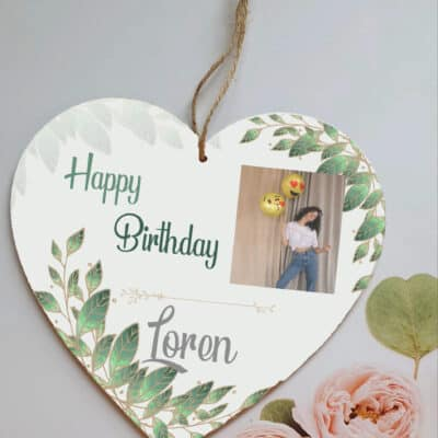 Personalised Happy Birthday Wooden Hanging Heart