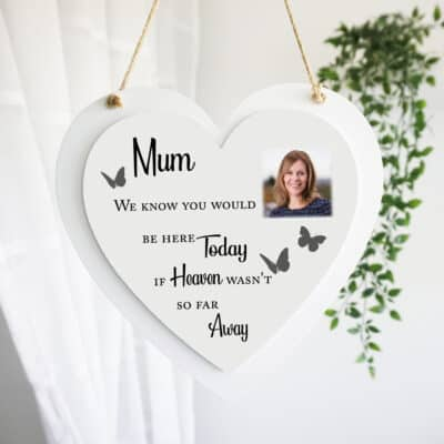 Personalised Here Today Luxury Wooden Hanging Heart
