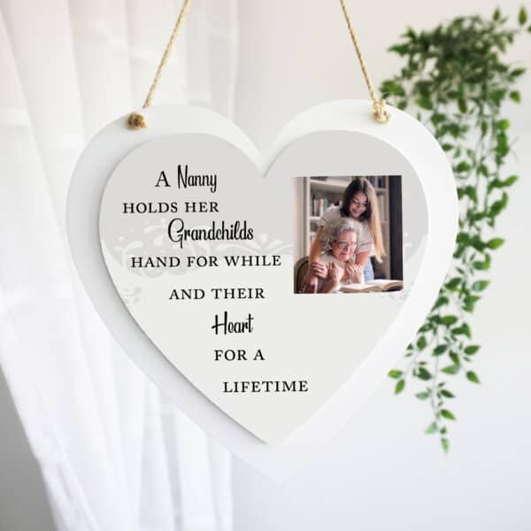 Personalised Holds A Grandchild's Hand Luxury Wooden Hanging Heart